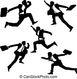 happy jump and running Businessmen - Silhouettes of happy...