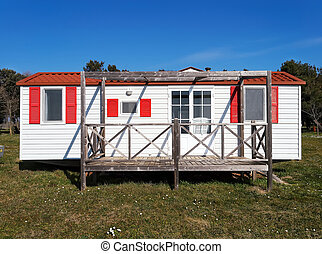 Mobile home - mobile home with veranda in campsite