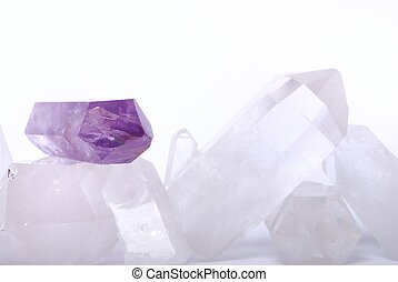 Amethyst energized on quartz crystals - semiprecious gems...