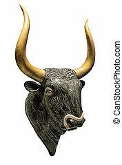 cabeça, de, minotauro, Bull, ,