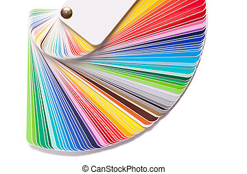 Color guide spectrum swatch samples rainbow on white...