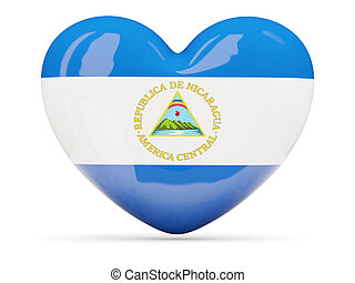 Heart shaped icon with flag of nicaragua