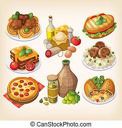 italiano, cibo, e, meals.,