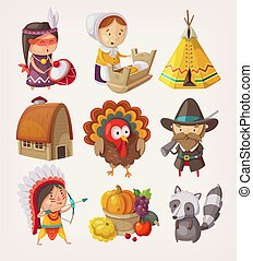 Set of thanksgiving items and characters