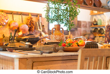 Interior of an old spanish kitchen.