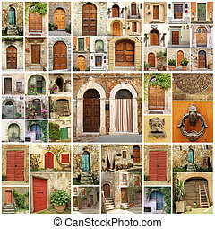 italian doors collage, Europe