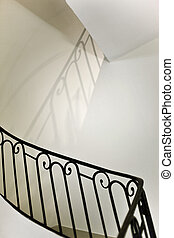Upstairs - Stairs and handrail in a classic French house