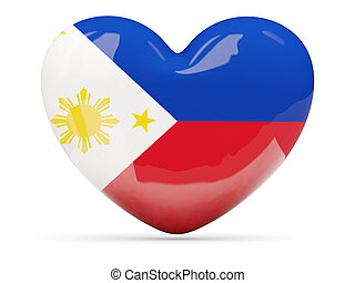 Heart shaped icon with flag of philippines isolated on white