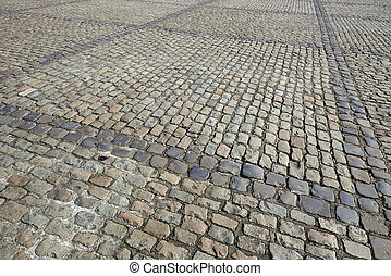 Detail of a cobbled road - Detail of a road with different...