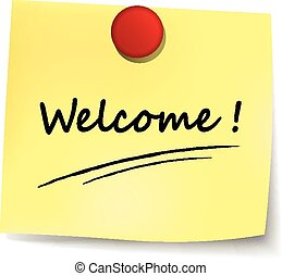 welcome yellow note - illustration of welcome yellow note on...