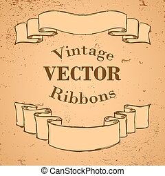 Ribbon Banners - Two Vintage Ribbon Banners Vector hand...