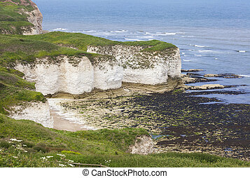 Rugged clifftops at Flamborough Head, North Yorkshire, UK...