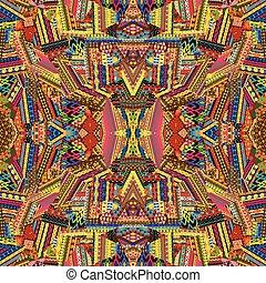 Seamless, Padrão, com, colorido, étnico,...