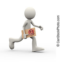 3d man running with email envelop - 3d illustration of...