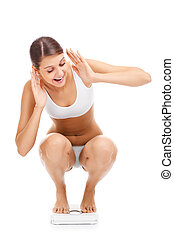 Shocked woman on bathroom scales - A picture of a shocked...