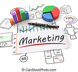 Marketing concept - Pie chart on a stock chart as marketing...