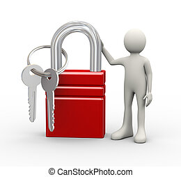 3d man standing with padlock and keys - 3d illustration of...