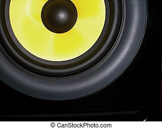 Speaker - High-end black-yellow speaker, studio nearfield...