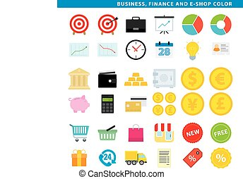 Business finance and e-shop color - Three sets icons,...