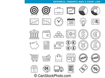 Business finance & e-shop line - Three sets icons, business,...