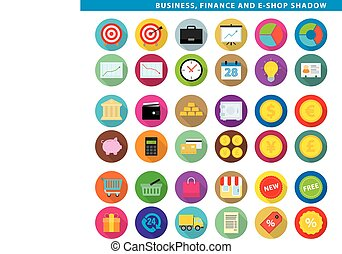 Business finance & e-shop shadow. - Three sets icons,...