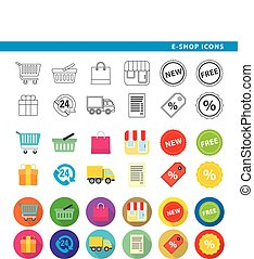 e-shop icons - Set of twelve e-shop icons, in three...