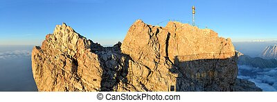 Zugspitze, Highest mountain peak in German alps - Zugspitze...