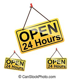 Set of open 24 hours text message on yellow hanging pin sign