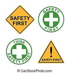 jogo, Símbolo, sinal, segurança, massagem, primeiro