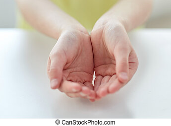 close up of child cupped hands - people, charity, childhood...