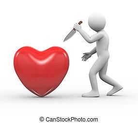Coração, homem, atacar, faca,  3D