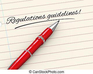 Diretrizes,  -, regulamentos, caneta, papel,  3D