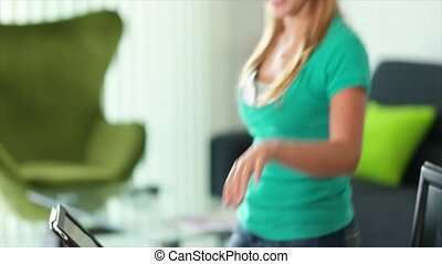 Young Woman Female Student - Young blond woman, college...