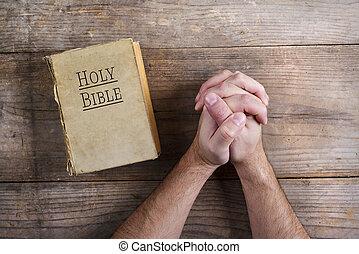 bíblia, e, orando, mãos,