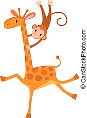Funny giraffe with monkey - Funny giraffe with litlle...