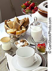 French breakfast - Appetizing French breakfast on a table in...
