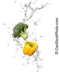 vegetables - freshness of vegetables with water splash