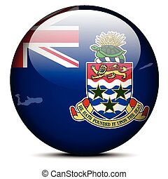 Map on flag button of Cayman Islands - Vector Image - Map on...