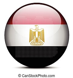 Map with Dot Pattern on flag button of Arab Republic of Egypt
