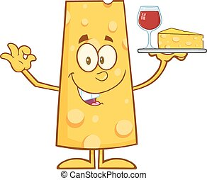 Cheese Cartoon Character Holding Up A Wine Glass And Wedge...