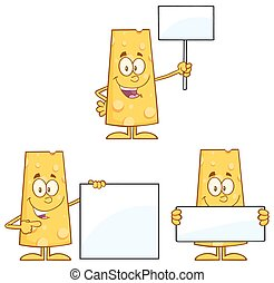Cheese Character 4. Collection Set - Cheese Cartoon Mascot...