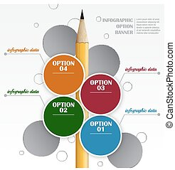 Infographic vector template with round labels and pencil