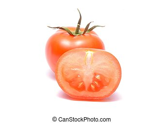 Red tomato with handle isolated on white background