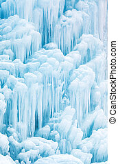 Frozen waterfall or fountain - Winter background pattern and...