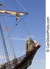 Sailing catalonian vessel bowsprit - Bowsprit of a sailing...