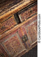 Cupboard - Focus on an old Chinese cupboard in a flea market