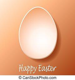 Easter Egg - Flat white easter egg on brown background