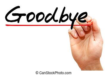 mano, escritura, adiós, empresa / negocio, concept, ,...