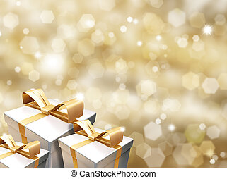 Christmas gifts on golden background of blurred lights