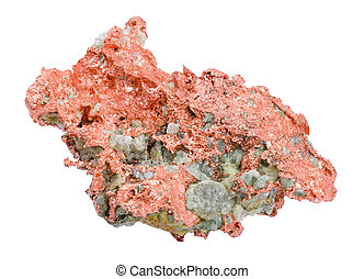 Native Copper Over White Background - Native copper isolated...